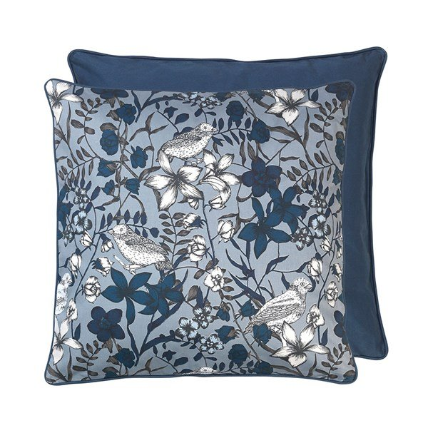 Floral Bird Print, pude, Blue Wing, 50x50cm, Cozy Living