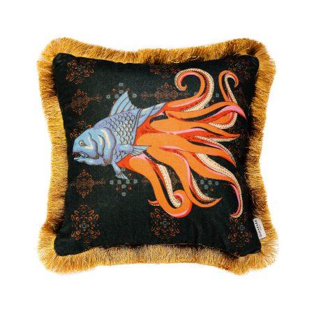 GuanAnAn London - The Fish Cushion Black Jade He Luo