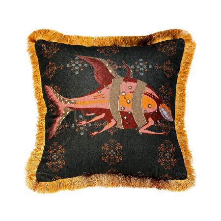 GuanAnAn London - The Fish Cushion Black Jade Ran Yi