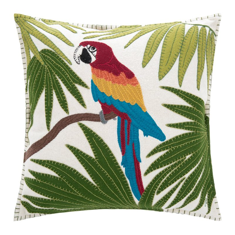 Jan Constantine - Tropical Parrot Cushion - Cream