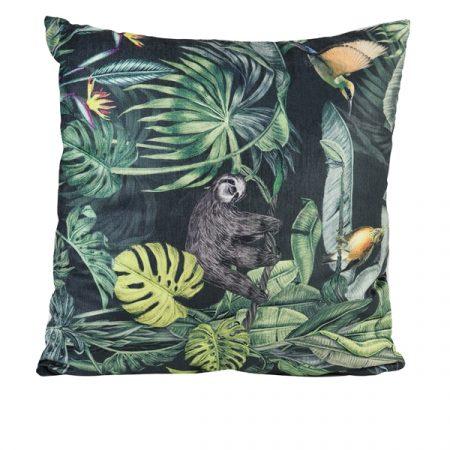 Kuranda pude med print - Sort/grøn - 45x45 cm fra Light & Living