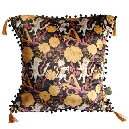 Laura Beirne Interiors - Unicorn & Lion, Gold Royal Coats Of Arms Cushion