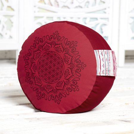 Meditationspude, 17 cm - Hibiscus/Rød