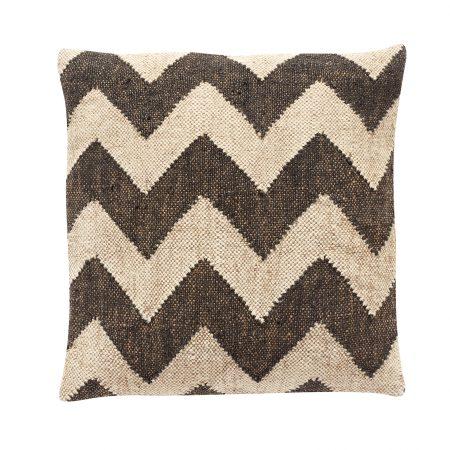 Pude m/kelim-mønster, uld/jute, sort/beige - 50x50 cm