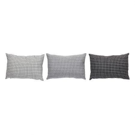 Pude m/mønster, lysegrå/mørkegrå/sort, s/3 - 40x60 cm