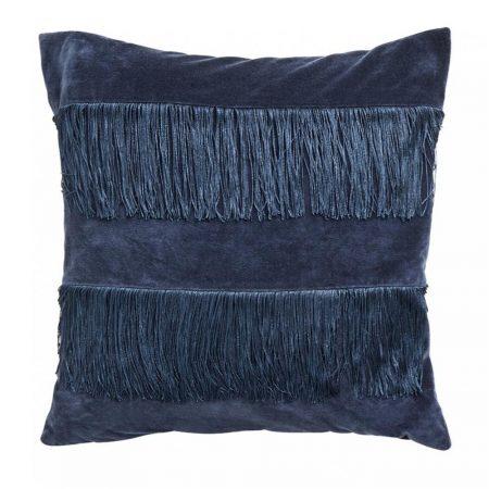 Pudebetræk i velour med frynser - 50x50 - mørkeblå