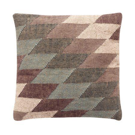 Pudebetræk m/kelim mønster, uld/jute, grå/grøn, 50x50cm