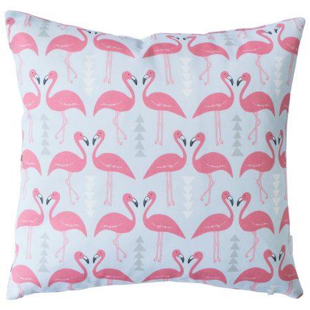 Rosa & Clara Designs - Flamingo Flourish Cushion Ice Blue