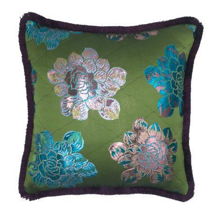Stranger Than Them - Dahlia Quilted Green Metallic Floral Jacquard Square Cushion
