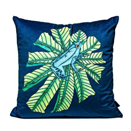 Wilful Ink - Tropical Frog Velvet Cushion